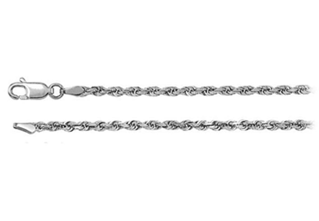 14K White Gold Diamond Cut Rope Chain Necklace 1.6mm