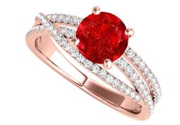 Criss Cross Design Ring with CZ and Ruby in Rose Gold
