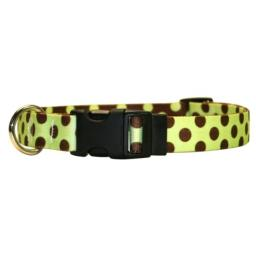 "Yellow Dog Design Standard Easy-Snap Collar, Green/Brown Polka Dot, Medium 14"" - 20"" (1"" Wide)"