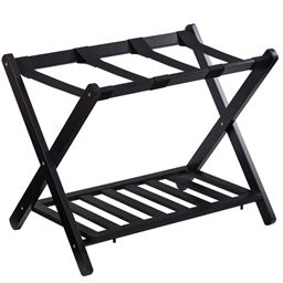 Folding Wood Stand Travel Luggage Rack with Shelf