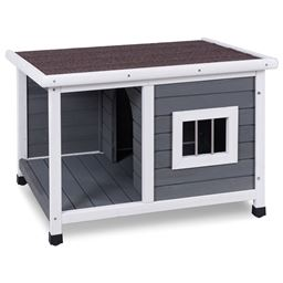 Wooden Pet Dog House with Shelter