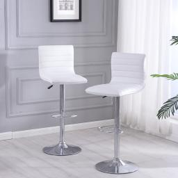 Belleze Modern White PU Leather Swivel Adjustable Barstools Faux Leather Hydraulic Counter Stools (Set of 2)