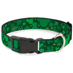 "Plastic Clip Collar - St. Patrick's Day Mickey Collage Greens - Large 15-26"" 1.0"" Large"