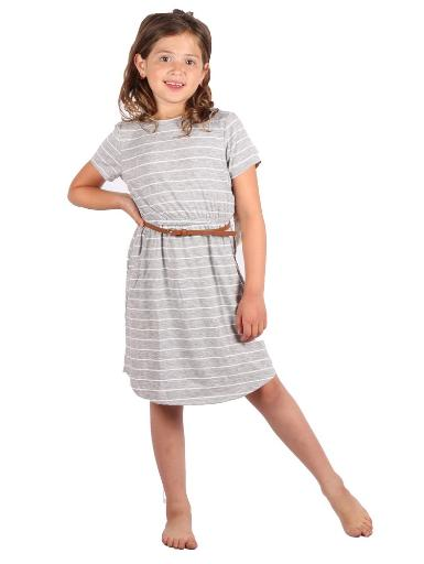 Lori & Jane Big Girls Gray White Stripe Belt Short Sleeve Trendy Dress 5-14