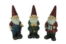 Set of 3 Hand Painted Gardening Gnome Garden Statues A1057