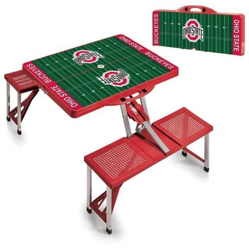 Picnic Time 811-00-100-445-0 Ohio State Buckeyes Digital Print Portable Folding Picnic Table with Four Seats, Red