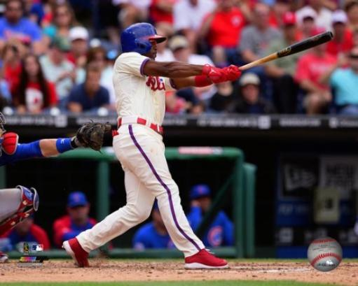 Jimmy Rollins Singles to become the Phillies All-Time career hit leader with 2,235 hits on June 14, 2014 Photo Print