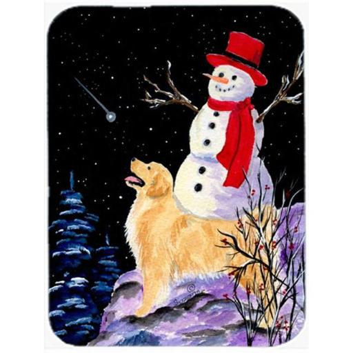 Carolines Treasures SS8579LCB 12 x 15 in. Golden Retriever with Snowman in red Hat Glass Cutting Board, Large 172BEA6C8DE6418