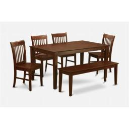 East West Furniture CANO6C-MAH-W 6PC Rectangualar Table and 4 Wood seat chairs and 51-in Long bench
