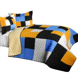 Long River 3PC Vermicelli - Quilted Patchwork Quilt Set (Full/Queen Size)
