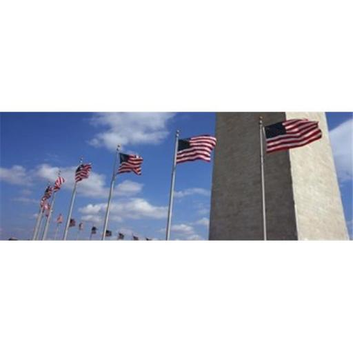 Panoramic Images PPI119830L American flags in front of an obelisk Washington Monument Washington DC USA Poster Print by Panoramic Images - 36 x 12