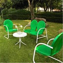 Crosley Furniture KO10001GR Griffith 4 Piece Metal Outdoor Conversation Seating Set - Loveseat and 2 Chairs in Grasshopper Greeen Finish with Side Tab