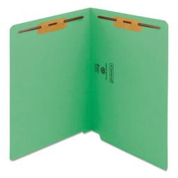 Smead Manufacturing 25150 WaterShed & CutLess End Tab 2 Fastener Folders, Green