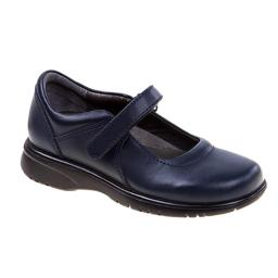 Academie LAUREN-CW-V Hook Eye Adhesive Strap School Shoes  Navy - Wide - Size 3.5