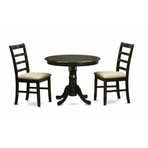 East West Furniture ANPF3-CAP-C 3 Piece Small Kitchen Table and Chairs Set-Round Kitchen Table and 2 Kitchen Chairs