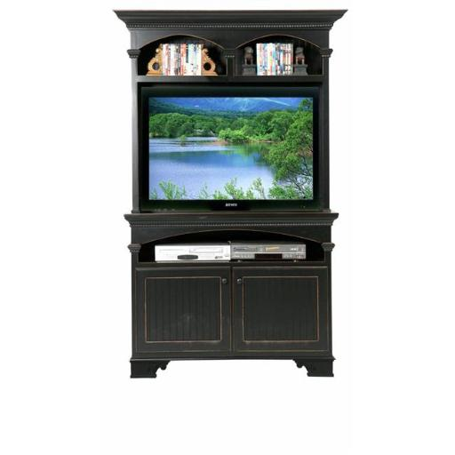 Eagle Furniture 11541NGBK-16045WPBK American Premiere Entertainment Console & Hutch with 42 in. Opening, Antique Black