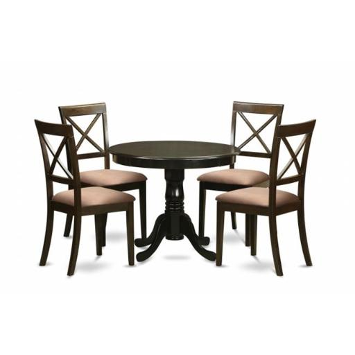 East West Furniture ANBO5-CAP-C 5 Piece Small Kitchen Table and Chairs Set-Round Table and 4 Chairs For Dining Room