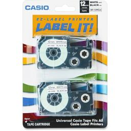 Casio-computer xr12we2s 2pk label printer tape 12mm