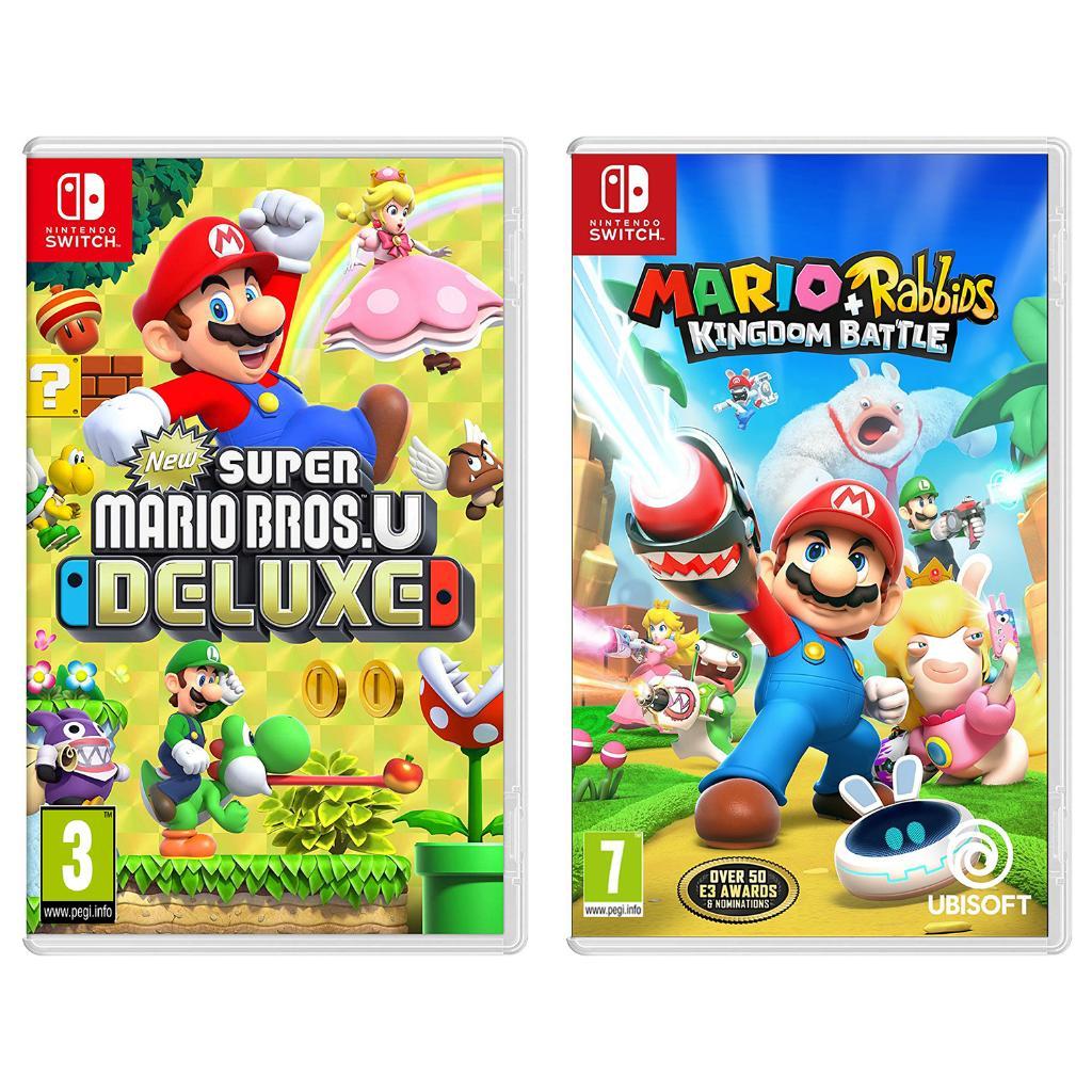 Nintendo Switch New Super Mario Bros U Deluxe and Mario + Rabbids Kingdom Battle Import Region Free