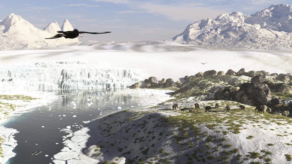 A receding glacial scene circa 18,000 years ago Poster Print