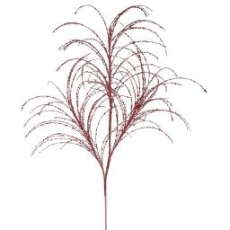 Vickerman QG164003 34 in. Red Glitter Grass Artificial Christmas Spray - 6 Per Bag