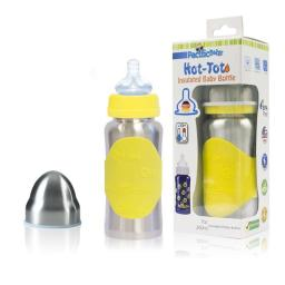 Pacific Baby 220 7 oz Hot-Tot Insulated Baby Bottle, Silver Yellow
