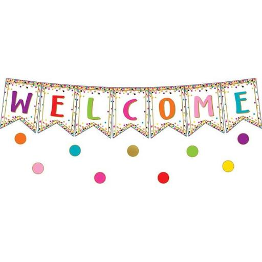 Teacher Created Resources TCR3608 Confetti Pennants Welcome Bulletin Board Set