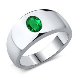 Gem Stone King 1.15 Ct Oval Green VS Nano Emerald 925 Sterling Silver Men's Ring