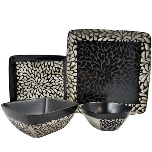 Elama ELM-DESERT-BLOOM Desert Bloom 16 Piece Stoneware Dinnerware Set