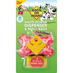 Bags On Board 3203940016 Pink Bags On Board Waste Pick-Up Dispenser And Refill Bags With Dookie Dock 30 Bags Pink