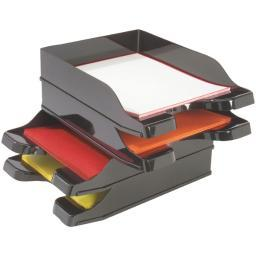 Deflecto 63904 docutray(r) multidirectional stacking tray, 2 pk