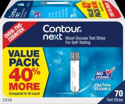 Contour Next Blood Glucose Test Strips Otc - 70 Strips, Pack Of 2