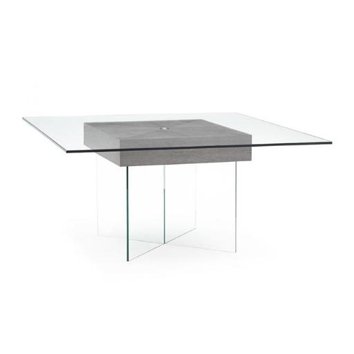 Whiteline Modern Living DT1396-GRY 30 x 63 x 63 in. Roxana Clear Glass Top & Clear Glass Base with Gray Oak Dining Table - Gray
