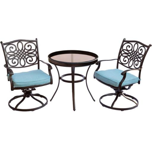 Hanover TRADDN3PCSWG-B Traditions Bistro Set with Swivel Chairs & Glass Table - 3 Piece, Blue