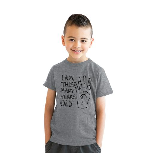 Crazy Dog T Shirts Youth I Am This Many Years Old Funny Hand 4 Year Kids Birthday Shirt