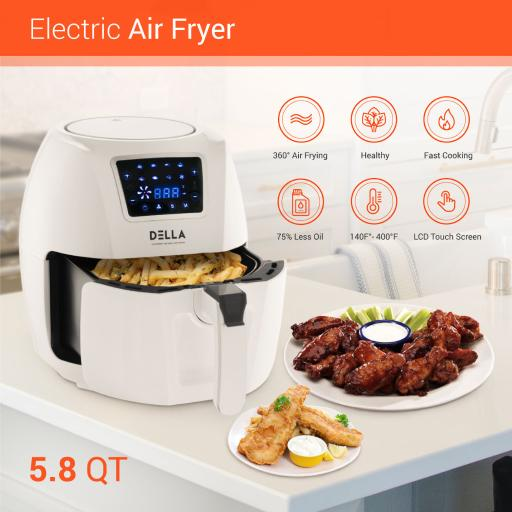 Della Air Fryer Rapid Circuit Technology 5.8 Quart Rotisserie Griller Roaster Oil Less Home Kitchen Multi Function White 8TESZS3OGWRTNNEE