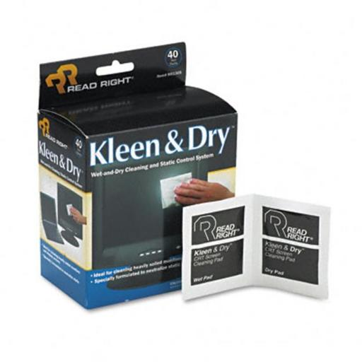 Read Right RR1305 Kleen & Dry Screen Cleaner Wet Wipes Cloth 5 x 5 40/box