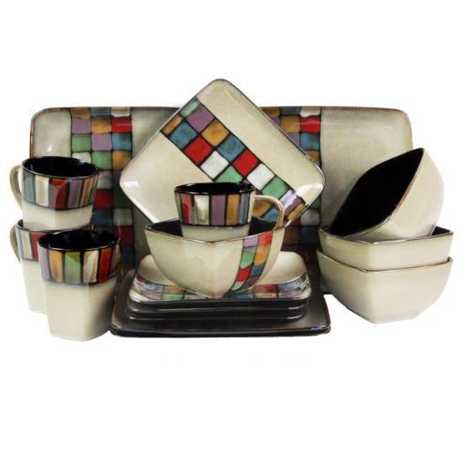 Elama ELM-MELANGE16 Stoneware Dinnerware Set with Complete Service for 4 - 16 Piece