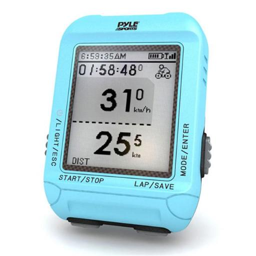 Pyle PSBCG90BL Multi-Function Digital LED Sports Bicycling Computer Device with GPS Navigation & ANT+ Technology - Blue Color