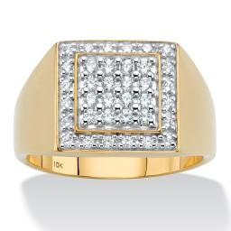 Men's Round Cubic Zirconia Grid Ring .58 TCW in Solid 10k Yellow Gold