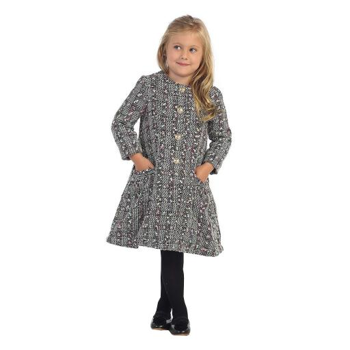 Angels Garment Little Girls Off-White Black Patterned Single Breasted Coat 3-6
