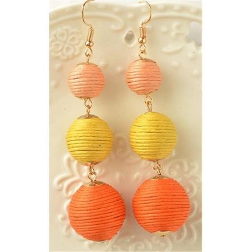 Youphoreah TBDE-307-O Celeb Inspired Hombre Threaded Ball Drop Earrings - Orange
