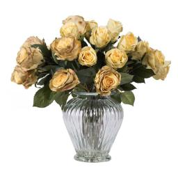 Vickerman F12184 Green Rose Arrangement Everyday Floral - 16 in.