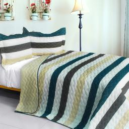 Stella Wish 3PC Vermicelli-Quilted Patchwork Quilt Set (Full/Queen Size)