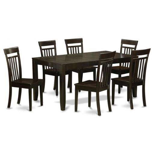 East West Furniture LYCA7-CAP-W 7-Pc Dining Room Table Set-Kitchen Tables With Leaf and 6 Chairs For Dining Room