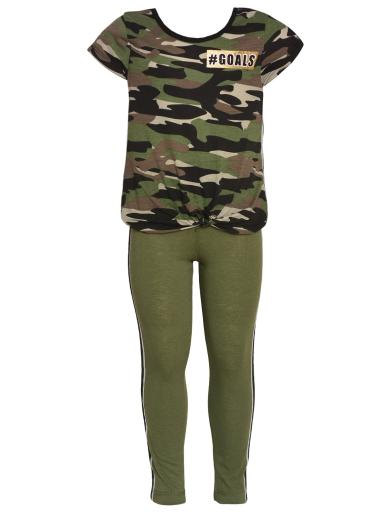 Little Girls Olive Green Black Camo Print T-Shirt 2 Pc Leggings Outfit 5