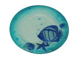 Transparent Blue Coastal Seashell and Fish Round Glass Dish