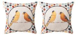 Pair of Usual Suspects Yellow Birds on Wire 18in. Decorative Throw Pillows