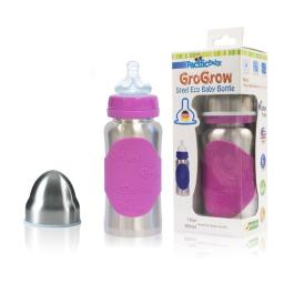 Pacific Baby 321 10 oz GroGrow Steel Eco Baby Bottle, Silver Pink