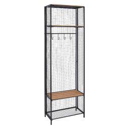 Linon Grid Metal and Wood Locker Coat Rack